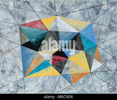 A Painting of a Crystalline Shape, Grungy Grey Background. - Stock Photo