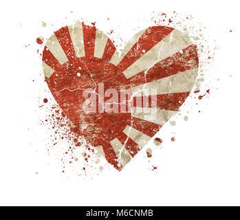 Heart shaped old grunge vintage dirty faded shabby distressed Japan, Nippon or Nihon koku flag with bang splash - Stock Photo