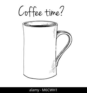 Hand drawn mug. Text Coffee time.Vector illustration in sketch style. - Stock Photo