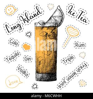 Simple recipe for an alcoholic cocktail Long Island Ice Tea. Vector illustration of a sketch style. - Stock Photo