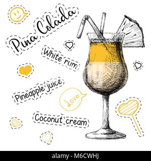 Simple recipe for an alcoholic cocktail Pina Colada. Vector illustration of a sketch style - Stock Photo