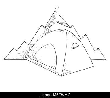 Tent against the background of mountains. Navigation sign. Emblem, logo mountain camping. Hand drawn vector illustration - Stock Photo