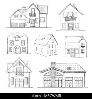 Hand drawn set of different houses. Vector illustration in a sketch style. - Stock Photo