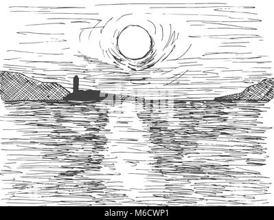 Hand drawn sunset sun over the sea. On the horizon is a mountain and a lighthouse. Vector illustration of a sketch - Stock Photo