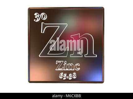 Zinc Chemical Element Periodic Table Science Symbol Stock Photo