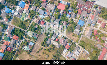 neighborhood with residential houses and driveways, land use planning concept - Stock Photo