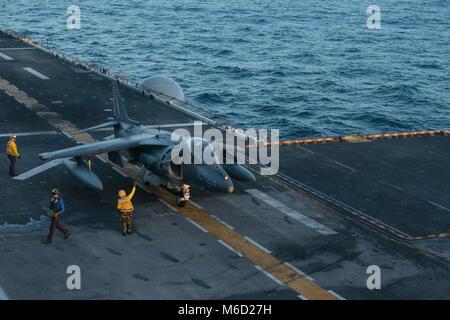 180224-M-WP334-0010 ATLANTIC OCEAN (February 24, 2018) U.S. Navy Sailors assigned to the Wasp-class amphibious assault - Stock Photo
