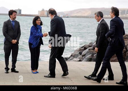 Granadilla, Spain. 02nd Mar, 2018. Spanish Prime Minister Mariano Rajoy (3-L), Canary Islands' regional President - Stock Photo