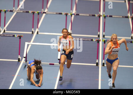Birmingham, UK. 2nd March, 2018. Elena PESRIDOU (Greece) hits her hurdle and falls hard during the IAAF World Indoor - Stock Photo