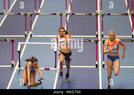 Birmingham, UK. 2nd Mar, 2018. Elisavet Pesiridou (Greece) hits her hurdle and falls hard during the IAAF World - Stock Photo
