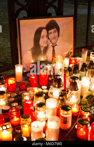 Bratislava, Slovakia. 2 March 2018. Burning candles in front of the image of the murdered investigative journalist - Stock Photo