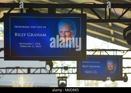 Charlotte, NC, 2 March, 2018. At what is now known as 'Billy Graham's Last Crusade,' family, friends, and church - Stock Photo