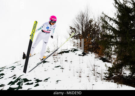 March 3, 2018: Yuka Seto (JPN)  during the FIS Ski Jumping World Cup Ladies Rasnov (ROU) 2018 at Valea Carbunarii, - Stock Photo