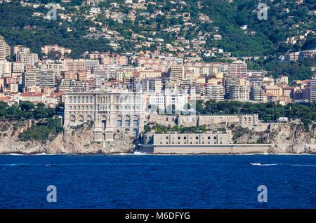 Monaco, Principality of Monaco - May 30, 2016: The view of the modern buildings and  Oceanographic Museum of Monaco - Stock Photo
