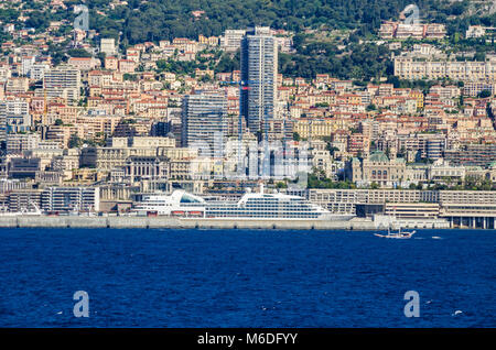 Monaco, Principality of Monaco - May 30, 2016: Country's first casino and the populous Quartier, Monte Carlo, in - Stock Photo