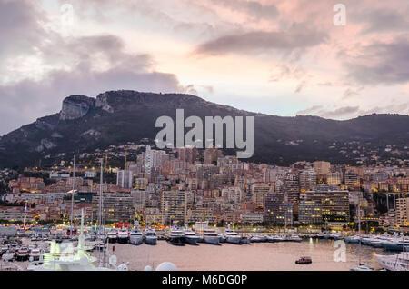 Monaco, Principality of Monaco - November 3, 2015: Port Hercules and  the southwestern ward of the second smallest - Stock Photo
