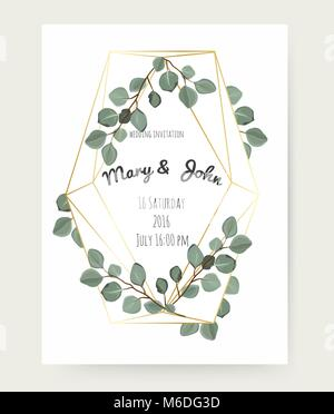 Vector floral design card with eucalyptus tree green leaves branch plant greenery. Geometrical polyhedron, golden - Stock Photo