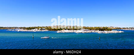 Swan Yacht Club, the Swan River and East Fremantle as viewed from Mosman Park. Perth, Western Australia - Stock Photo