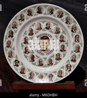 Vintage plate of all American presidents up to Kennedy - Stock Photo