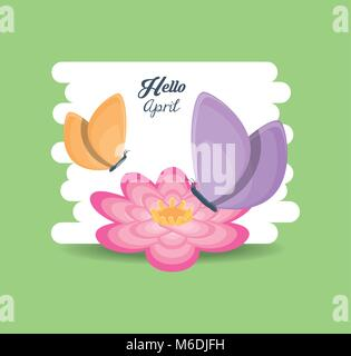 Hello april design with beautiful flower with beautiful butterflys over green background, colorful design vector - Stock Photo