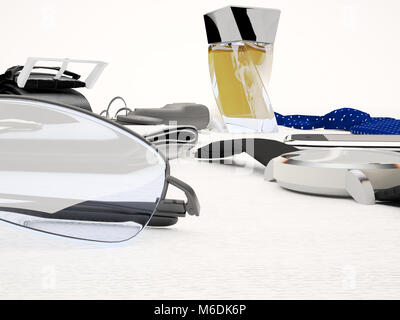 Gentleman kit - men's fashion clothes and accessories isolated on light background. - Stock Photo