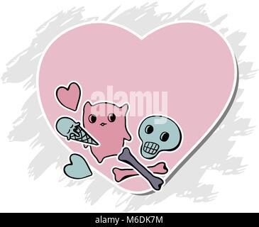 Skulls, Ice Cream and hearts on grunge background - Stock Photo