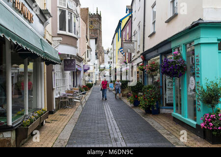 Colourful Dartmouth Street Scene:  Foss Street, Dartmouth, Devon, England, - Stock Photo