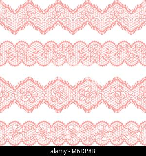 Lace Background Ornamental Pink Flowers Vintage Vector Texture