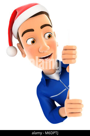3d mechanic with christmas hat peeping over wall, illustration with isolated white background - Stock Photo