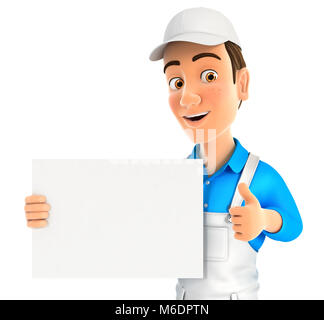3d painter holding placard with thumb up, illustration with isolated white background - Stock Photo