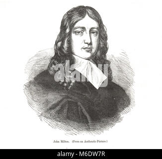 John Milton, 1608–1674, English poet, polemicist, man of letters, civil servant for the Commonwealth of Cromwell, - Stock Photo
