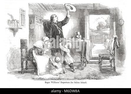 Roger Williams departing for Salem, 1633 - Stock Photo
