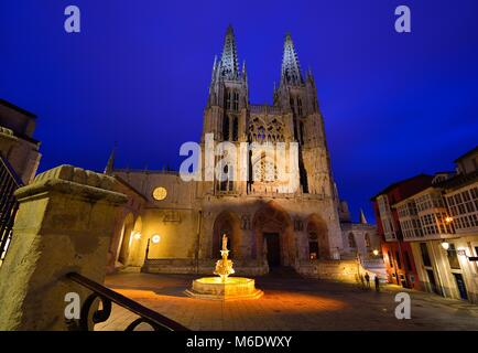 Night view of Burgos Cathedral in Spain. - Stock Photo
