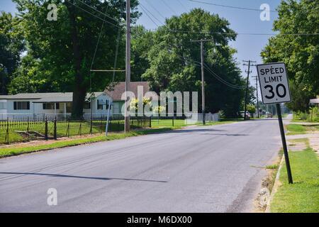 Speed limit 30 sign in Carterville city, Missouri - Stock Photo