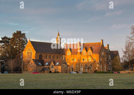 Bloxham School / All Saints' School in the early morning winter sunlight. Bloxham, Oxfordshire, England - Stock Photo