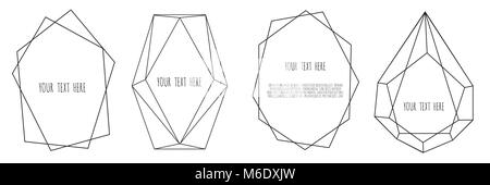 Set of Geometrical polyhedron, Frame border with copy space - Stock Photo