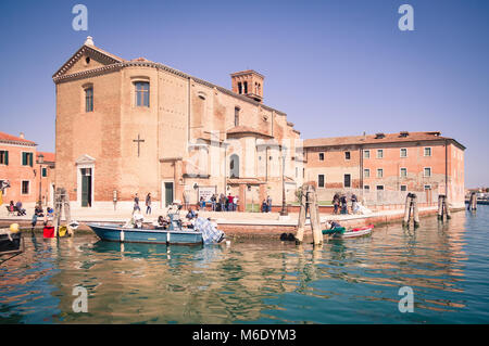 Chioggia, Italy - April 30, 2017: Church of Saint Dominic built on an island in Chioggia, Venice, Italy. - Stock Photo