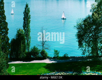 Mainau island sailboat at lake Bodensee, Germany. - Stock Photo