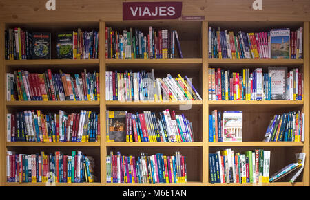 Badajoz, Spain - August 9th, 2017: Bookshop display full of Travel Guide Books and tourist maps,  Spain - Stock Photo