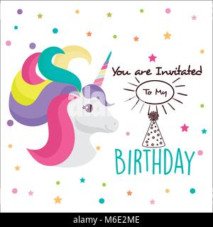 happy birthday card with unicorn character - Stock Photo