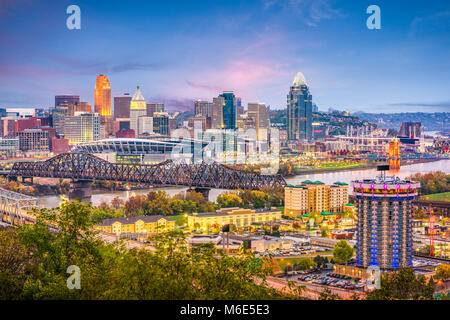 Cincinnati, Ohio, USA skyline at dusk. - Stock Photo