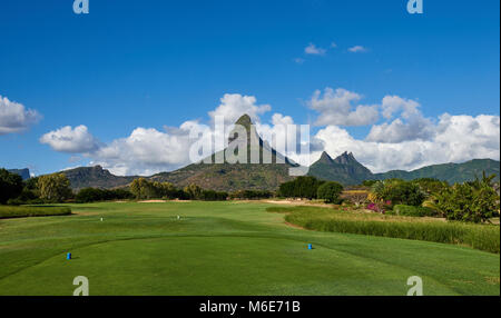 The View from the 2nd Tee of the Tamarin Golf Course on the Island of Mauritius. This Tee is overlooked by the magnificent - Stock Photo