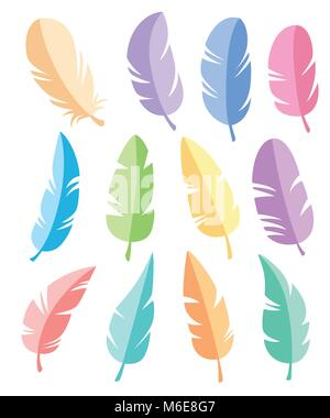 Feathers of different shapes vector set. Icons feathers in a flat style. Isolated on a white background. Collection - Stock Photo