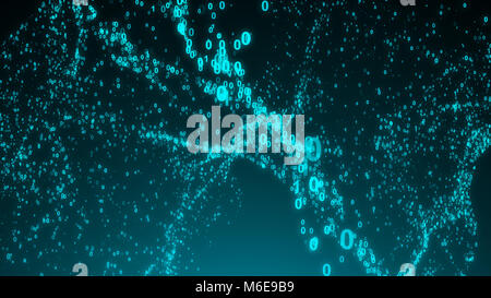 Abstract binary code background. Wave digital backdrop