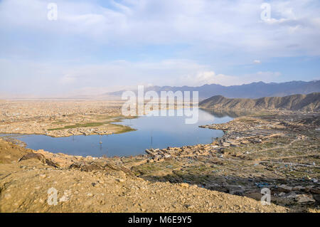 An aerial view of Kabul Afghanistan with the lake - Stock Photo