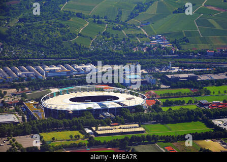 Stuttgart, Germany - June 11, 2017: Closer Aerial view of Stuttgart area and soccer stadium on a sunny summer day - Stock Photo