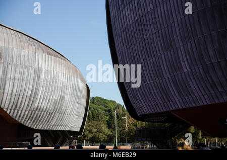 Rome, Italy. 01 November, 2017. Auditorium Parco della Musica, designed by architect Renzo Piano. View of the external claddings of two of the three c Stock Photo