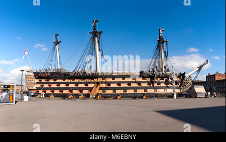 HMS Victory at the historic dockyards in Portsmouth. UK. The Victory was Admiral Horatio Nelson's flagship at the - Stock Photo