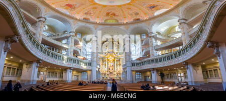 Inside panoramic view of dome of the Frauenkirche church in Dresden, Germany, one of the top attractions in the - Stock Photo