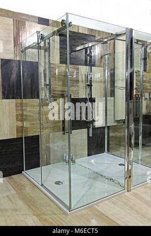 Modern bathroom interior with collage marble tiles - Stock Photo
